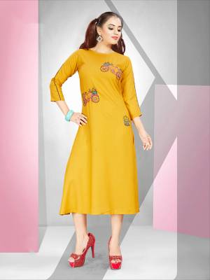 Look Pretty In This Designer Readymade Straight Kurti In Yellow Color Fabricated On Rayon. It Is Beautified With Pretty Resham Work Giving It A Very Pretty Look.  Also It Is Available In All Regular Sizes, choose As Per Your Comfort.