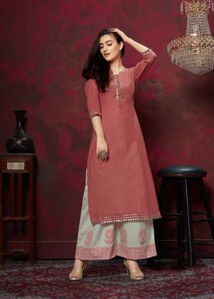 Grab This Very Pretty Designer Readymade Plazzo Set In Rust Red Colored Top Paired With Off-White Colored Bottom. This Kurti And Plazzo Are Fabricated On Cotton And Available In All Regular Sizes. Buy This Pretty Pair Now.