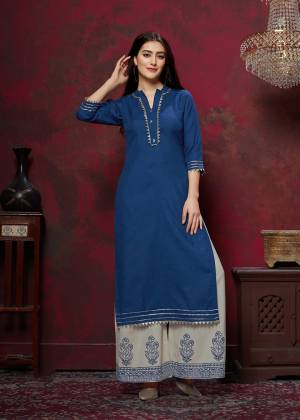 Grab This Very Pretty Designer Readymade Plazzo Set In Royal Blue Colored Top Paired With Off-White Colored Bottom. This Kurti And Plazzo Are Fabricated On Cotton And Available In All Regular Sizes. Buy This Pretty Pair Now.