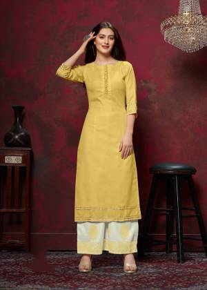Grab This Very Pretty Designer Readymade Plazzo Set In Yellow Colored Top Paired With Off-White Colored Bottom. This Kurti And Plazzo Are Fabricated On Cotton And Available In All Regular Sizes. Buy This Pretty Pair Now.