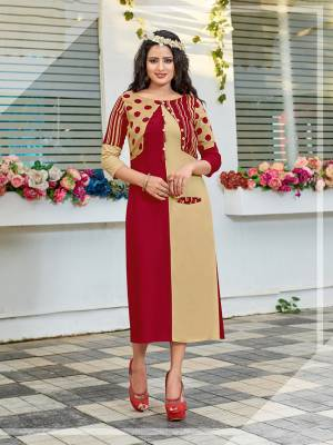 Be It Your College, Home Or Work Place. Grab This Readymade Pretty Kurti In Maroon And Beige Color Fabricated On Rayon. Its Fabric Is Soft Towards Skin And Ensures Superb Comfort All Day Long.