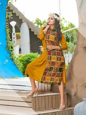 Be It Your College, Home Or Work Place. Grab This Readymade Pretty Kurti In Musturd Yellow Color Fabricated On Rayon. Its Fabric Is Soft Towards Skin And Ensures Superb Comfort All Day Long.
