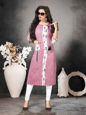 Look Pretty In This Readymade Pink Colored Kurti Fabricated On Khadi Cotton Beautified With Prints. It Is Soft Towards Skin And Easy To Carry All Day Long.