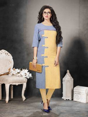 Grab This Pretty Simple Readymade Kurti For Your Casual Wear In Blue & Cream Color Fabricated On Khadi Cotton. It Is Available In All Regular Sizes.