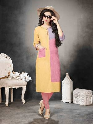 For Your College Or Work Place, This Kurti Is Suitable For All. Grab This Readymade Kurti In Multi Color Fabricated On Khadi Cotton. It Is Light Weight And Easy To Carry All Day Long.