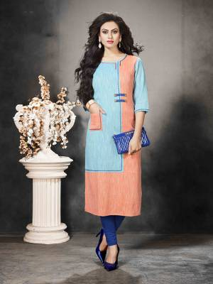 Look Pretty In This Readymade Sky Blue And Orange Colored Kurti Fabricated On Khadi Cotton Beautified With Prints. It Is Soft Towards Skin And Easy To Carry All Day Long.