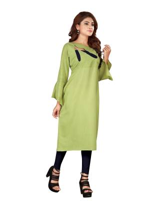 Add This Very Pretty Readymade Kurti To Your Wardrobe For Casual Or Semi-Casual Wear. This Kurti Is Suitable For College, Work Place, Etc. It IS Light Weight And Easy To Carry All Day Long. Buy This Pretty Kurti Now.