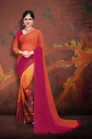Bright And Appealing Shaded Saree Is Here In Orange And Dark Pink Color Paired With Dark pink And Orange Colored Blouse. This Saree and Blouse Are Georgette Based Which Is Soft Towards Skin And Easy To Carry All Day Long.