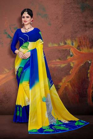 For Your Casual Wear, Grab This Pretty Printed Saree In Yellow And Royal Blue Color Paired With Royal Blue Colored Blouse. This Saree And Blouse are Fabricated On Georgette Which Ensures Superb Comfort All Day Long.