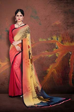 Simple And Elegant Saree For Your Casuals Or Semi-Casuals Is Here In Red And Multi Color Paired With Red Colored Blouse. This Saree And Blouse Are Fabricated On Georgette Beautified With Prints.