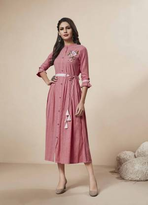 Add This Pretty Readymade Kurti To Your Wardrobe In Pink Color Fabricated On Rayon. This Kurti Is Beautified With Thread Work Giving It An Attractive Look.