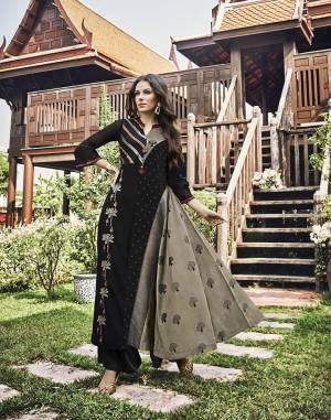 For A Bold And Beautiful Look, Grab This Designer Readymade Long Kurti In Black And Grey Color Fabricated On Modal Jacquard Beautified With Prints And Thread Work. This Kurti Is Light Weight And Easy To Carry Throughout The Gala.