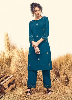 Grab This Beautiful Designer Readymade Kurti Set In Blue Color. This Pretty Kurti And Pant Are Fabricated On Cotton Beautified With Thread Work. It Is Available In All Regular Sizes. Buy Now.