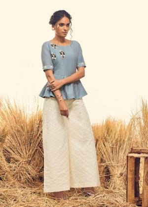 For The Latest Trend And Style, Grab This Readymade Indo-Western Pair In Sky Blue Colored Top Paired With Off White Colored Bottom, Its Top And Bottom Are Fabricated On Soft Silk And Which Ensures Superb Comfort All Day Long.