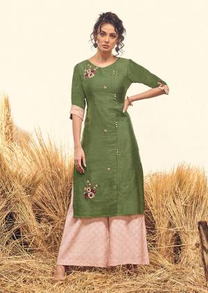 Proper Traditonal Look Is Here With This Readymade Pair Of Kurti And Plazzo In Olive Green And Pink Color. Its Top IS Fabricated On Viscose Silk Paired With Soft Silk Fabricated Bottom. Buy This Pair Now.