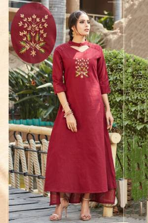 Here Is A Very Beautiful Designer Readymade Kurti In Maroon Color. It Has Very Pretty And Trendy Color Beautified With Hand Work. Also It IS Light In Weight And Ensures Superb Comfort All Day Long.