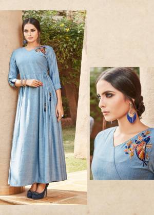 Add This Pretty Readymade Kurti To your Wardrobe In Blue Color. It Is Beautified With Unique Pattern And Attractive Embroidery Which Will Earn You Lots Of Compliments From Onlookers.