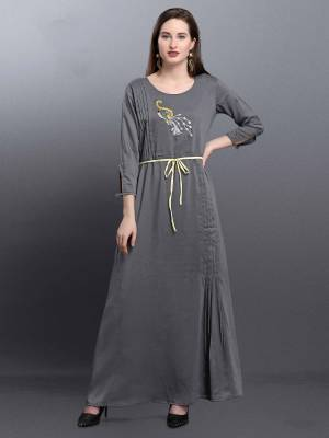 Rich And Elegant Looking Designer Readymade Kurti Is Here In Grey Color Fabricated On Muslin. This Pretty Kurti Is Beautified With Hand Work And Tucks Pattern.