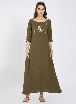Add Some Casuals, With This Designer Readymade Long Kurti In Olive Green Color Fabricated On Linen. This Kurti Has Pretty Thread Work And Also It Is Light Weight And Easy To Carry All Day Long.