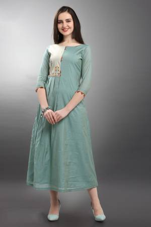 Look Pretty In This Beuautiful Subtle Shade With This Readymade Kurti In Steel Blue Color. This Pretty Kurti IS Fabircated On Viscose Silk. Its Rich Color And Fabric Will Earn You Lots Of Compliments From Onlookers. Also It Is Available In All Regular Sizes.