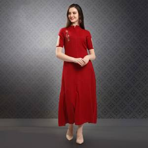 Celebrate This Festive Season With Beauty And Comfort Wearing This Designer Readymade Long Kurti In Red  Color Fabricated On Rayon Blend Beautified With Hand Work. It Is Available In All Regular Sizes. Buy Now.