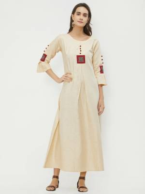 Simple And Elegant Looking Readymade Kurti Is Here In Cream Color Fabricated On Khadi. This Simple Kurti Is Light In Weight And Available In All Regular Sizes. Buy Now.