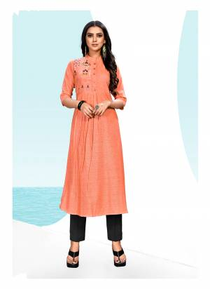 This Festive Season, Look Beautiful And Enjoy Comfortably Wearing This Designer Readymade Kurti In Orange Color Fabricated On Khadi Cotton. This Kurti Is Beautified With Thread Work. Buy Now.