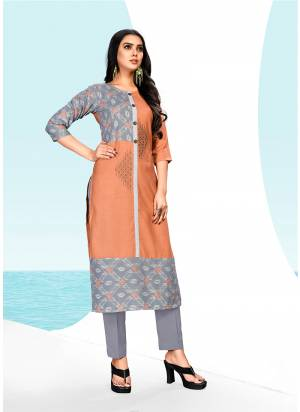 Rich And elegant Looking Designer Readymade Kurti Is Here In Rust And Grey Color Fabricated On Khadi Cotton. It Is Light In Weight And Easy To Carry All Day Long.
