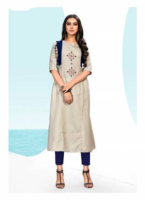 Flaunt Your Rich And Elegant Taste Wearing This Designer Readymade Kurti In Pale Grey Color Fabricated On Khadi Cotton. This Fabric Is Soft Towards Skin And Easy To Carry All Day Long. Buy Now.