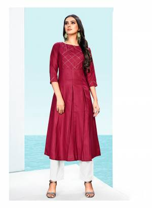 For A Bold And Beautiful Look, Grab This Very Beautiful Designer Readymade Kurti In Maroon Color. This Cotton Based Kurti IS Beautified With Simple And Elegant Thread Work, Also It IS Light In Weight And Easy To Carry All Day Long.