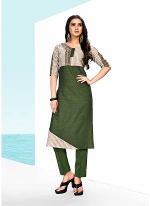 Grab this Designer Readymade Kurti In Dark Green Color Fabricated On Khadi Cotton. This Pretty Kurti Is Light Weight, And Available In All Regular Sizes. Buy Now.