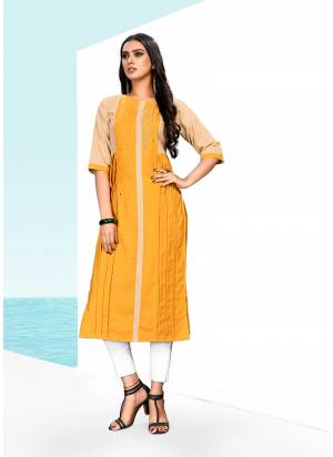 Celebrate This Festive Season With Beauty And Comfort Wearing this Readymade Kurti In Musturd Yellow Color Fabricated On Khadi Cotton. It Is Beautified With Thread Work And Light Weight And Easy To Carry All day Long.