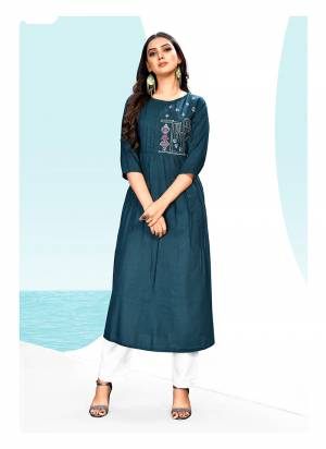 New And Unique Shade IS Here With This Readymade Designer Kurti In Prussian Blue Color Fabricated On Khadi Cotton, It Is Light Weight And Easy To Carry All Day Long.