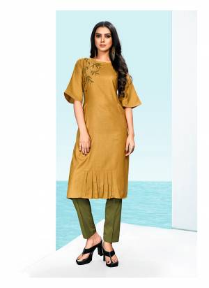 Celebrate This Festive Season With Beauty And Comfort Wearing this Readymade Kurti In Occur Yellow Color Fabricated On Khadi Cotton. It Is Beautified With Thread Work And Light Weight And Easy To Carry All day Long.