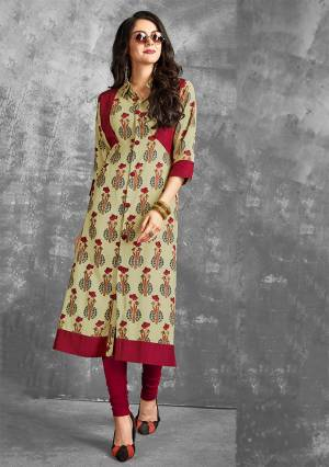 Grab This Pretty Readymade Kurti In Pastel Green Color Fabricated on Rayon. It Is Beautified With Prints All over It. Also It Is Light In Weight And Easy To Carry All Day Long.