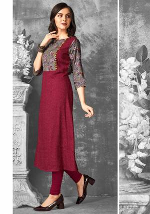 Here Is A Very Beautiful Designer Straight Kurti In Maroon And Grey Color Fabricated On Rayon. This Readymade Kurti Is Available In all Regular Sizes And Ensures Superb Comfort All Day Long.