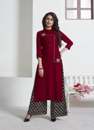Add This Very Beautiful Designer Readymade Kurta Set In Maroon Paired With Black Colored Bottom. This Pretty Set Is Rayon Based Beautified With Prints And Thread Work. Also It Is Available In All  Sizes. Buy Now.