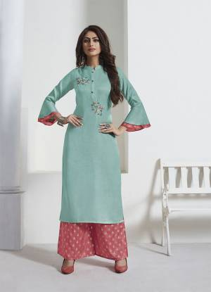 Look Beautiful Wearing This Pretty Color Pallete With This Readymade Designer Kurta With Pants. This Pretty Rayon Based Kurti Is In Sky Blue Color Paired With Contrasting Pink Colored Silk Based Bottom. It Is Beautified With Foil Print And Hand Work.