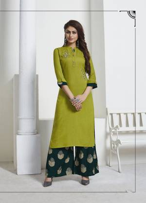 Lovely Color Pallete Is Here With This Designer Readymade Pair Of Kurti And Plazzo In Parrot Green Colored Top Paired With Peacock Green Colored Bottom. Its Top And Bottom are Rayon Based Beautified With Foil Print And Hand Work.