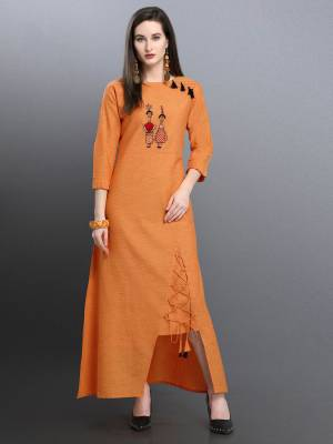 Grab This Designer Asymetric Patterned Readymade Kurti In Orange Color Fabricated On Khadi Cotton Beautified With Thread Work. Its Unique Pattern And Work Will Earn You Lots Of Compliments From Onlookers.