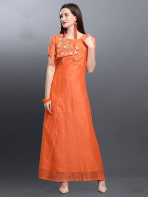 Shine Bright In This Designer Readymade Long Kurti In Orange Color Fabricated On Art Silk. It Is Beautified With Pretty Hand Work. Buy This Elegant Looking Kurti Now.