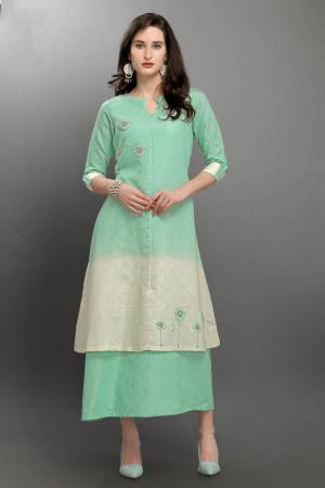Simple and Elegant Looking Designer Readymade Kurti Is Here In Pastel Green And White Color. This Pretty Silk Based Kurti Is Light Weight And Also Available In All Regular sizes. Buy Now.