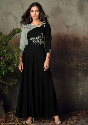 For A Bold And Beautiful Look, Grab This Designer Readymade Gown In Black Color Fabricated On Rayon. It Has Very Beautiful Pattern With Embroidery Over The Yoke.