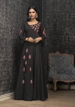 Enhance Your Personality Wearing This Designer Readymade Gown In Black Color Fabricated On Muslin. This Gown Has Beautiful Embroidery And Available In All Regular Sizes With Extra Margin. It Is Light In Weight and Easy To Carry All Day Long.