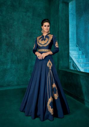 Bright And Visually Appealing Color Is Here With This Very Beautiful Designer Readymade Gown In Royal Blue Color Fabricated Soft Art Silk. It Is Beautified With Minimal Elegant Looking Embroidery Which Will Earn You Lots Of Compliments From Onlookers.