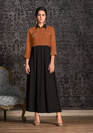 For A Pretty Formal Look, Grab This Designer Readymade Kurti In Black And Brown Color Fabricated On Rayon. It Is Light In Weight And Available In All Sizes, Choose As Per Your Desired Fit And Comfort.