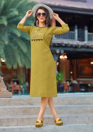 New And Unique Shade Is Here With This Designer Readymade Kurti In Pear Green Fabricated On Cotton Beautified With Multi Colored Thread Work. Buy This Kurti Now.