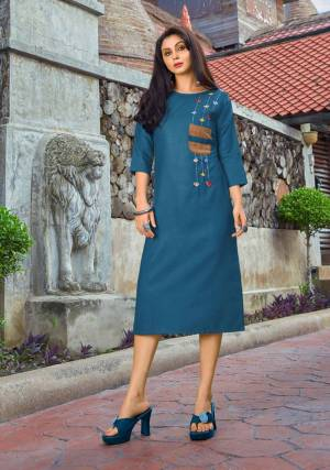 Add Some Casuals, With This Pretty Designer Readymade Kurti In Blue Color Fabricated On Cotton. This Kurti Has Minimal Thread Work And Available In All Regular Sizes.
