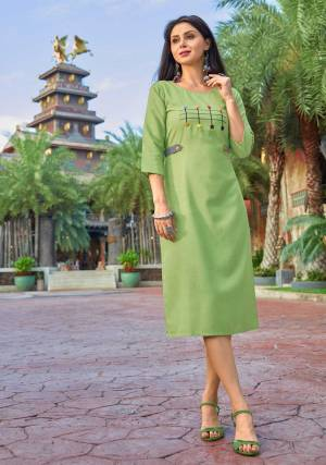 Enhace Your Personality Wearing This Designer Readymade Kurti In Light Green Color Fabricated Cotton Which IS Light Weight, Durable And Easy To Carry All Day Long.  Buy Now.