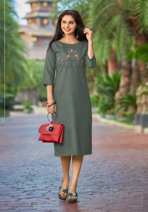 For Your Casual Or Semi-Casual Wear, Grab This Designer Readymade Kurti In Grey Color  Fabricated On Cotton. It IS Beautified With Multi Colored Thread Work. You Can Pair This Up With Same Or Contrasting Colored Pants Or Leggings.